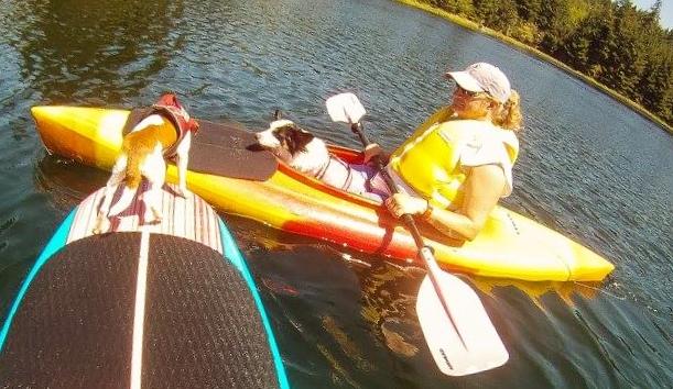 Kayaking and SUPing at Olalla Lake in Newport, Oregon with Flynn and Ptera